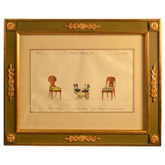 19th Century Framed Hand Colored Engraving of Furnishings