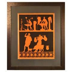 19th c. Framed Hand Colored Engraving Of Antique Greek Vases