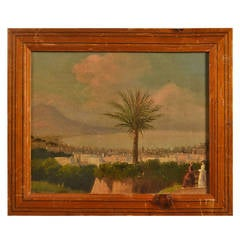 19th Century Small Framed Oil Painting of Naples