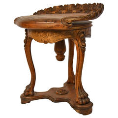 19th Century Shell-Shaped Grotto Piano Stool in Beechwood