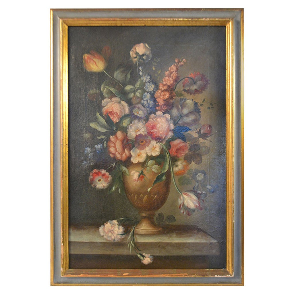 19th Century Framed Oil Painting of Flowers