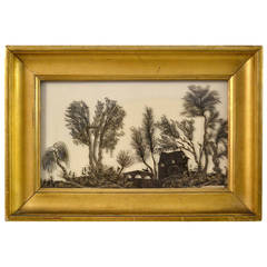 19th Century Rare Framed Work of Cut-Out Lead