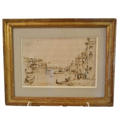 19th Century Framed Drawing of Venice
