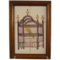 18th Century Delft Tile Panel of a Bird in a Cage