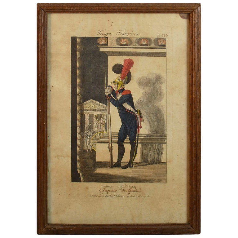 19th Century Framed Empire Period Engraving of French Cavalry For Sale