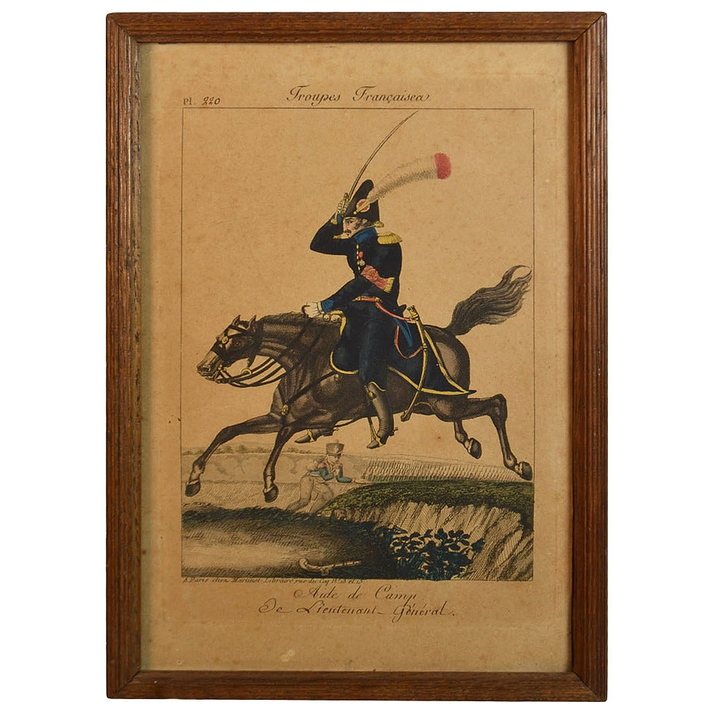 19th Century Framed Empire Period Engraving of French Cavalry( collection of 15