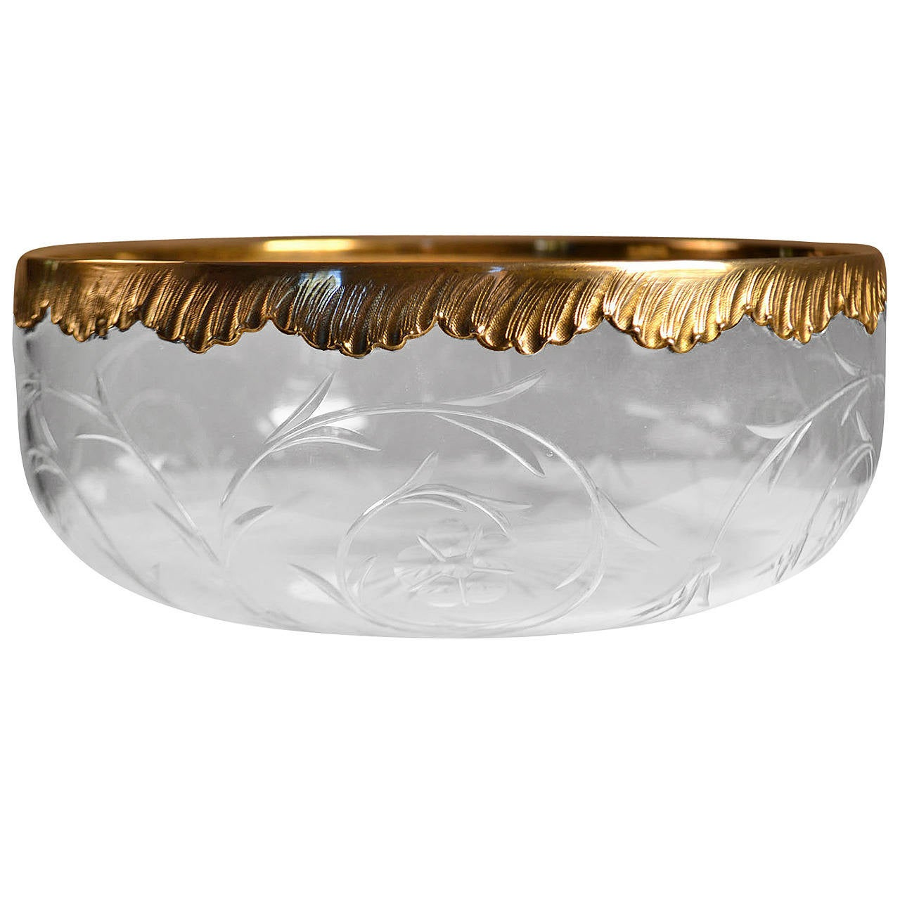20th Century Roger Duclos Sterling Silver and Crystal Salad Bowl