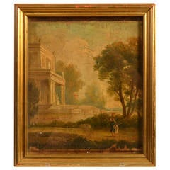 19th Century Small Framed Painting on Wooden Panel