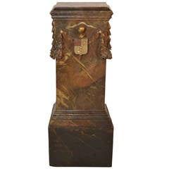 "19th Century Faux Marble Pedestal with ""Fleur de Lis"" Coat of Arms"