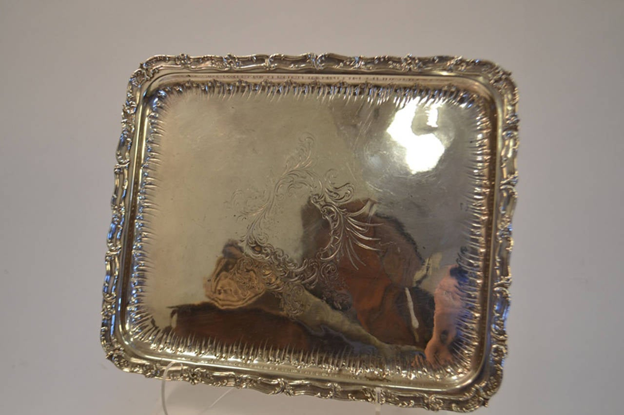 European 19th Century Sterling Silver Tray For Sale
