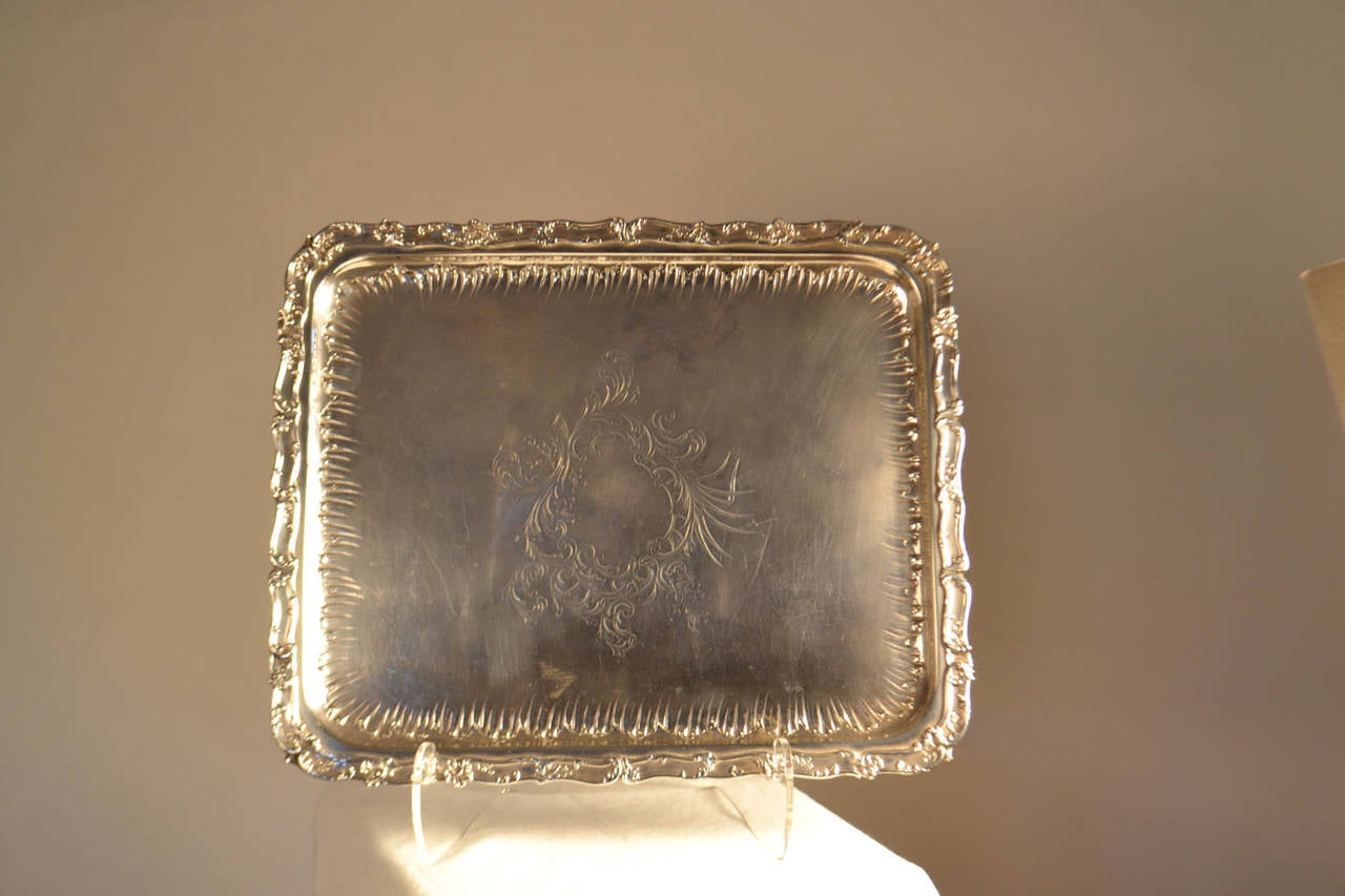 19th Century Sterling Silver Tray In Good Condition For Sale In Vista, CA