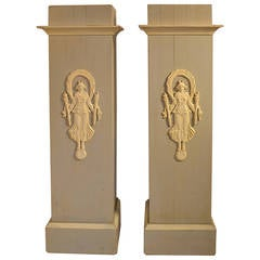 Pair of Decorative Painted French Pedestals with carved  Indochine Figures