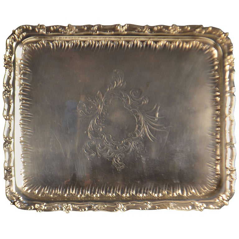 19th Century Sterling Silver Tray For Sale