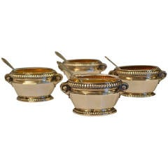19th Century Set of Four Sterling Silver Salt Cellars with Spoons