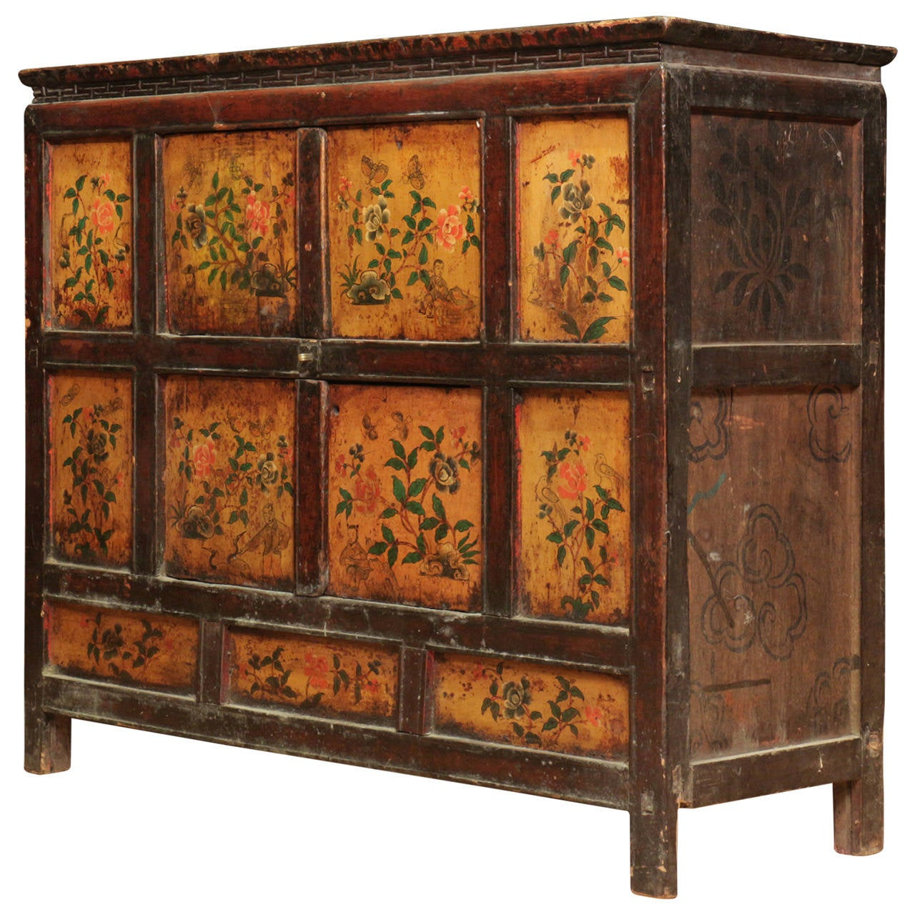 Antique tibetan cabinet in the lhasa style at 1stdibs for Antique chinese furniture styles