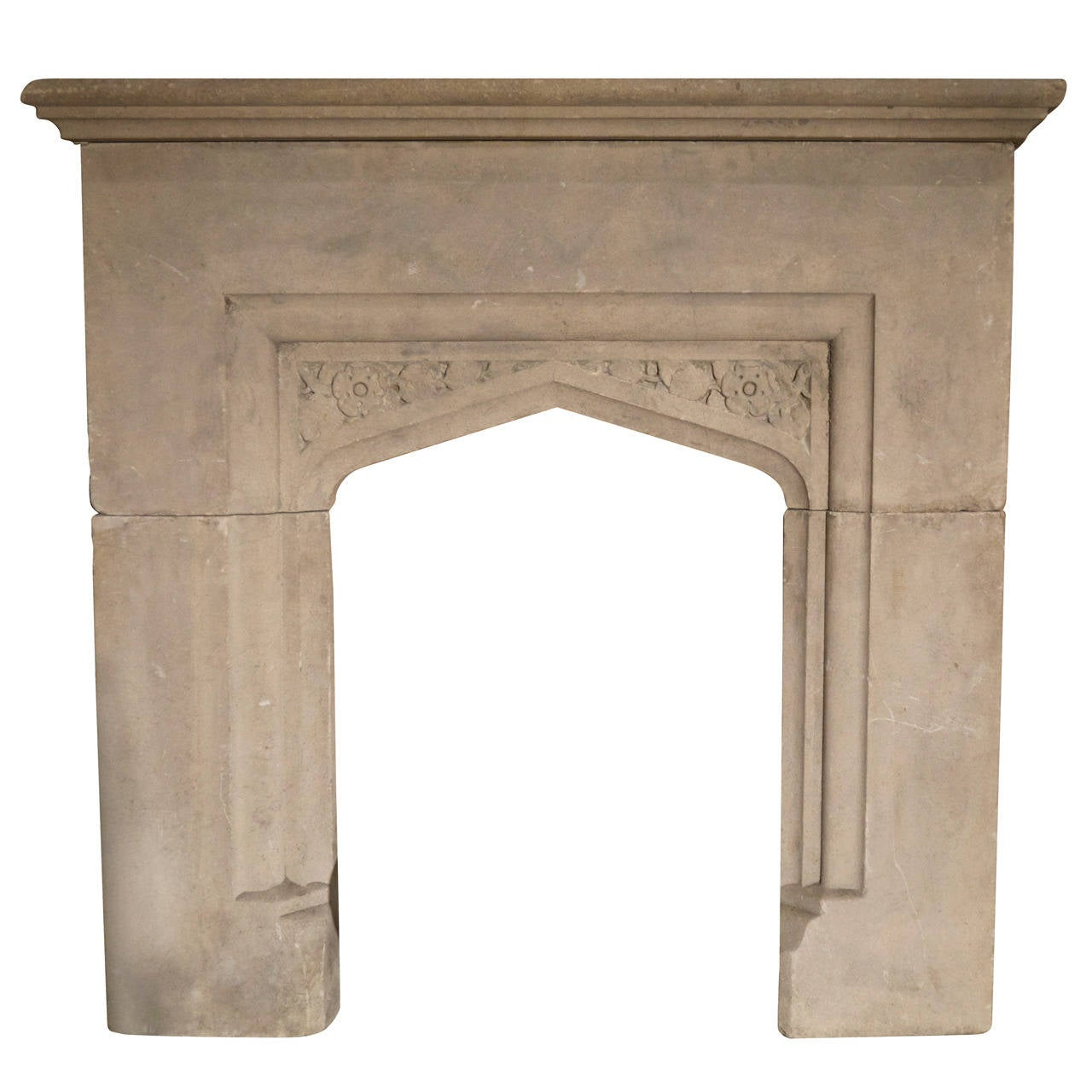small gothic stone fireplace surround at 1stdibs