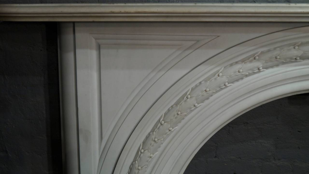 antique victorian statuary white carved arched marble fireplace