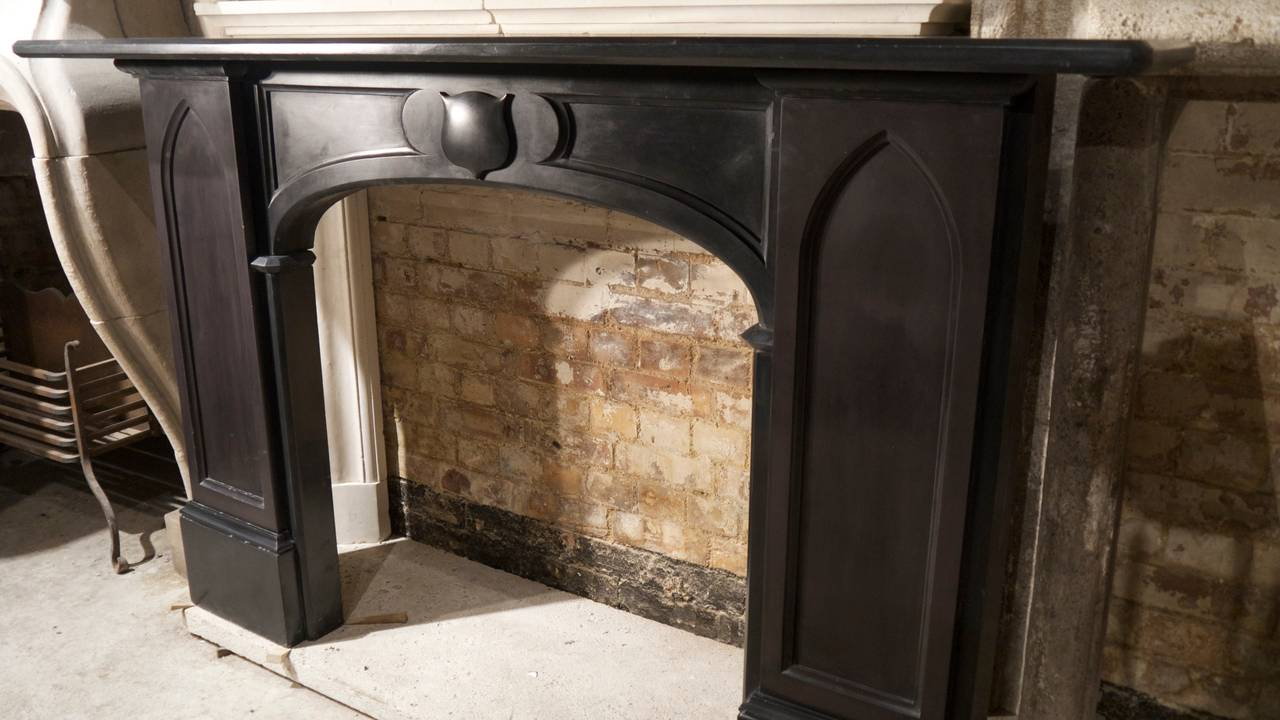 Pair of of Victorian Gothic Slate Fireplace Surrounds For