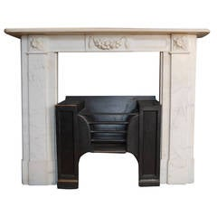 Antique Georgian Marble Fireplace Surround with an Original Hob Grate