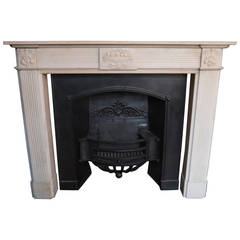 Original 18th Century Statuary White Marble Fireplace Surround