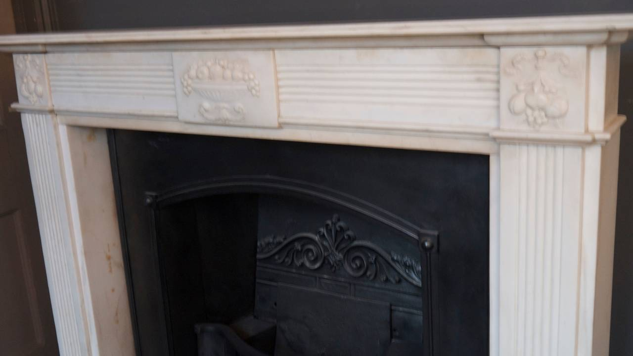Original 18th century statuary white marble fireplace for White marble fire surround