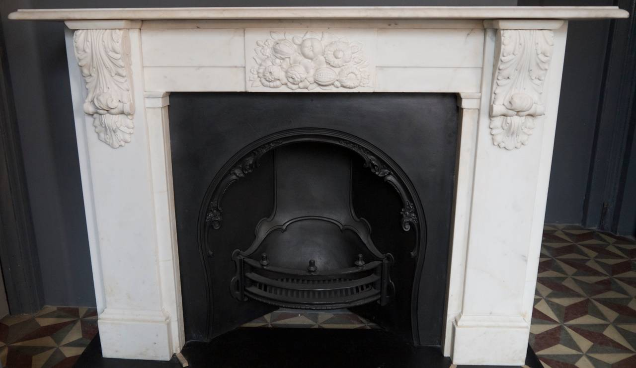 large victorian statuary white carved marble corbel fireplace