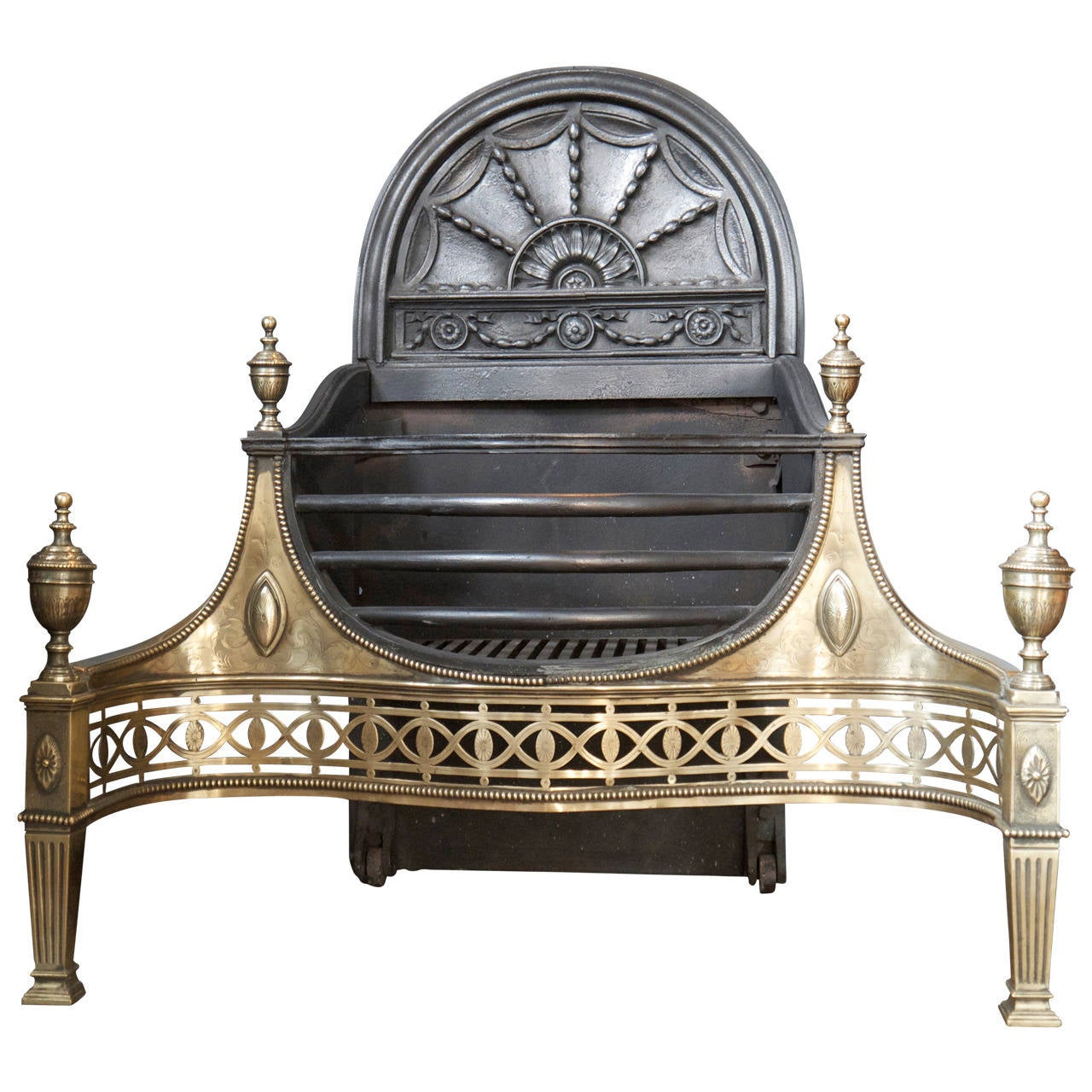 Huge Antique Thomas Elsley Cast Iron And Brass Fire Basket Fireplace For  Sale