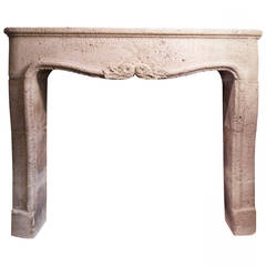 19th Century French Caen Stone Fireplace Surround
