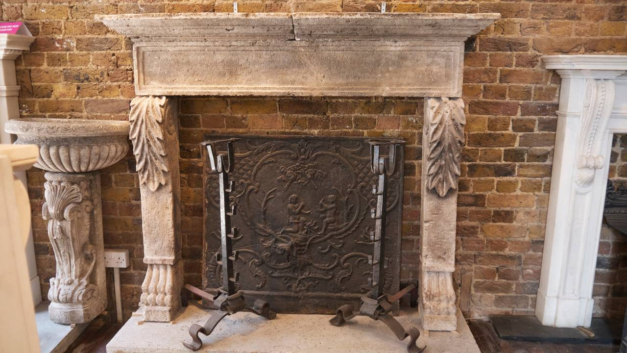Antique 18th Century Italian Stone Fireplace Surround At