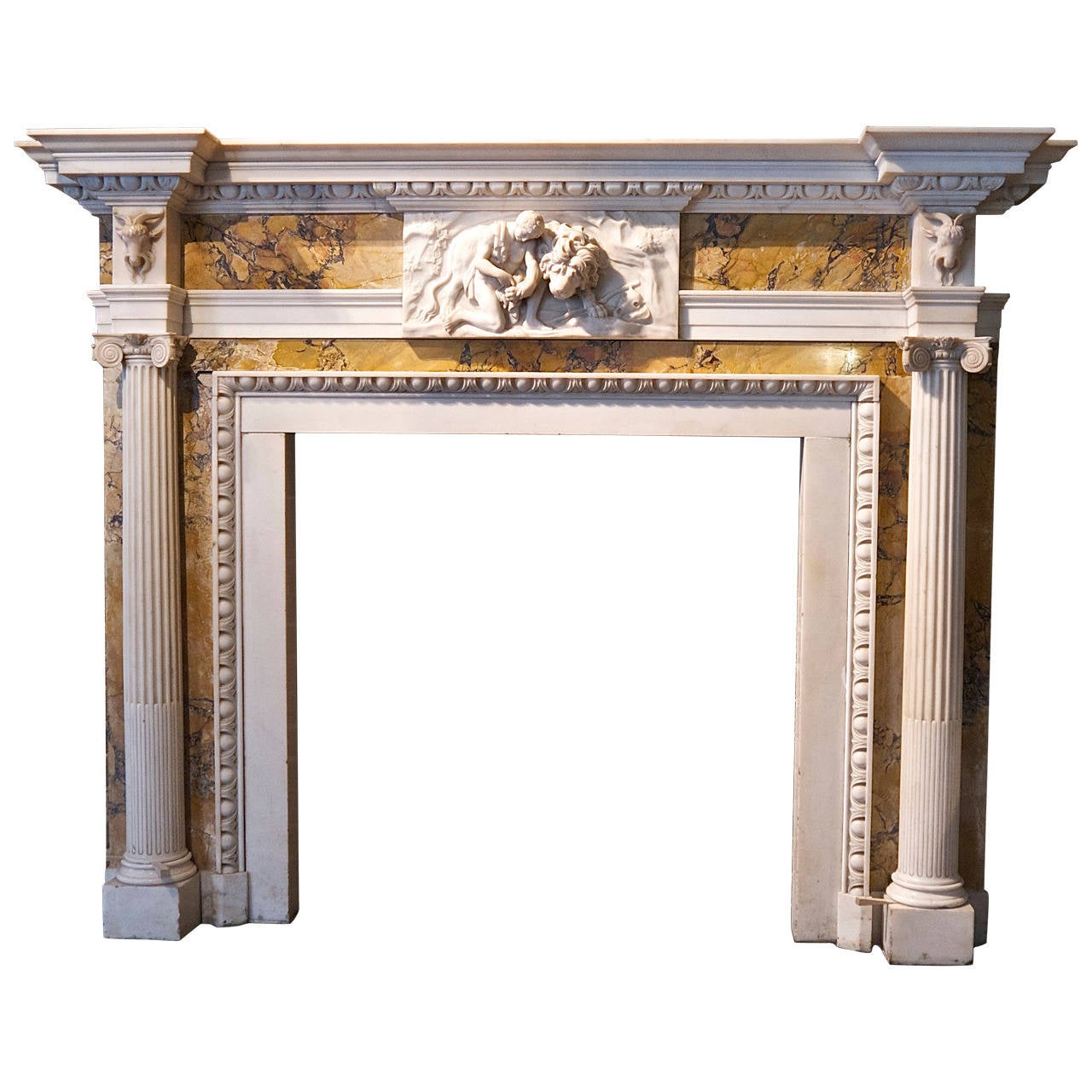 Original george iii white statuary and siena marble for Marble mantels for sale