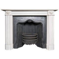 Georgian Style Aged Statuary White Marble Fireplace Surround
