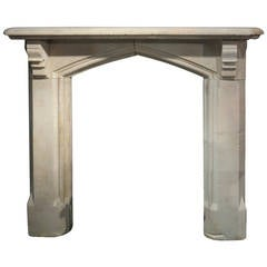 Antique Victorian Gothic Stone Fireplace Surround