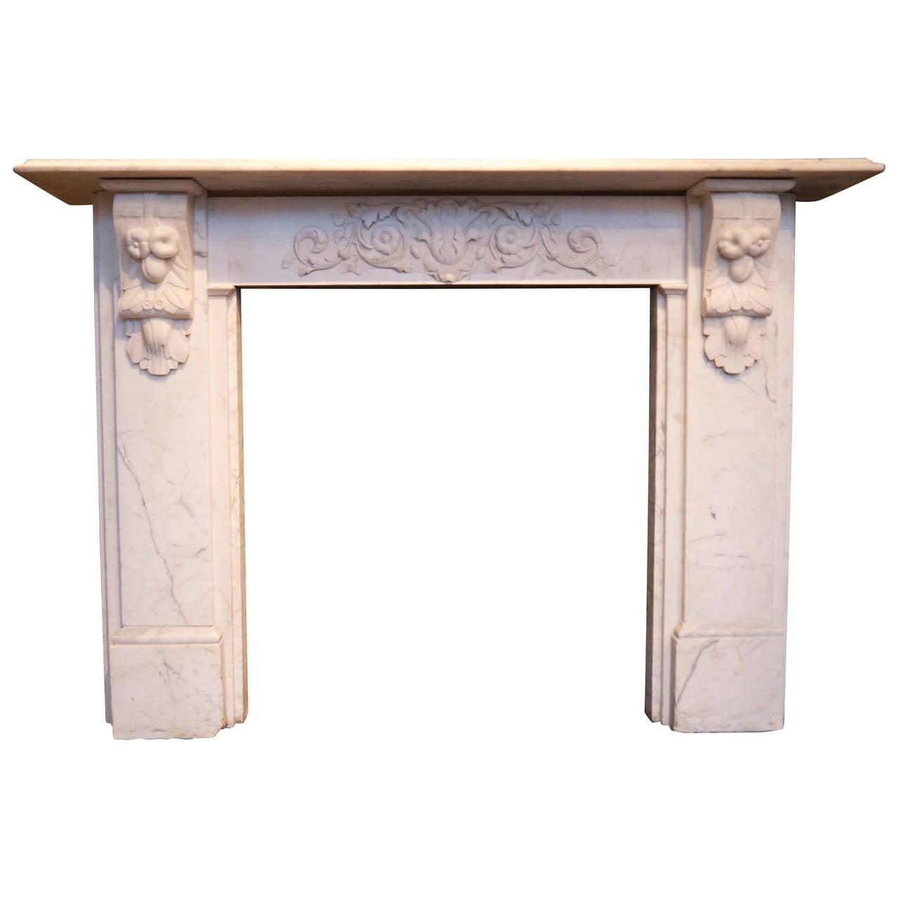 original statuary white victorian carved corbel mantel at