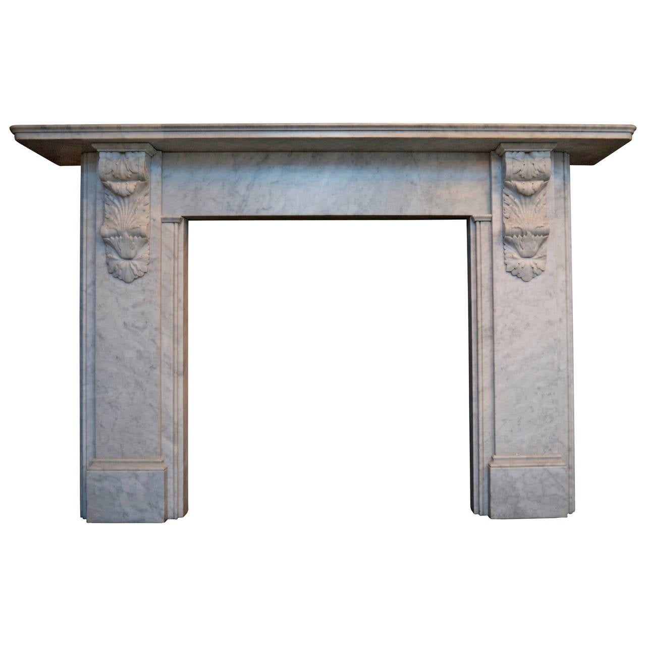 Victorian Style Carved Corbel in Carrara Marble fireplace For Sale