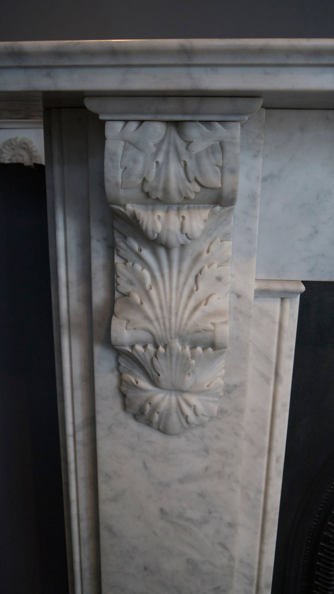 Victorian Style Carved Corbel in Carrara Marble fireplace For Sale 2