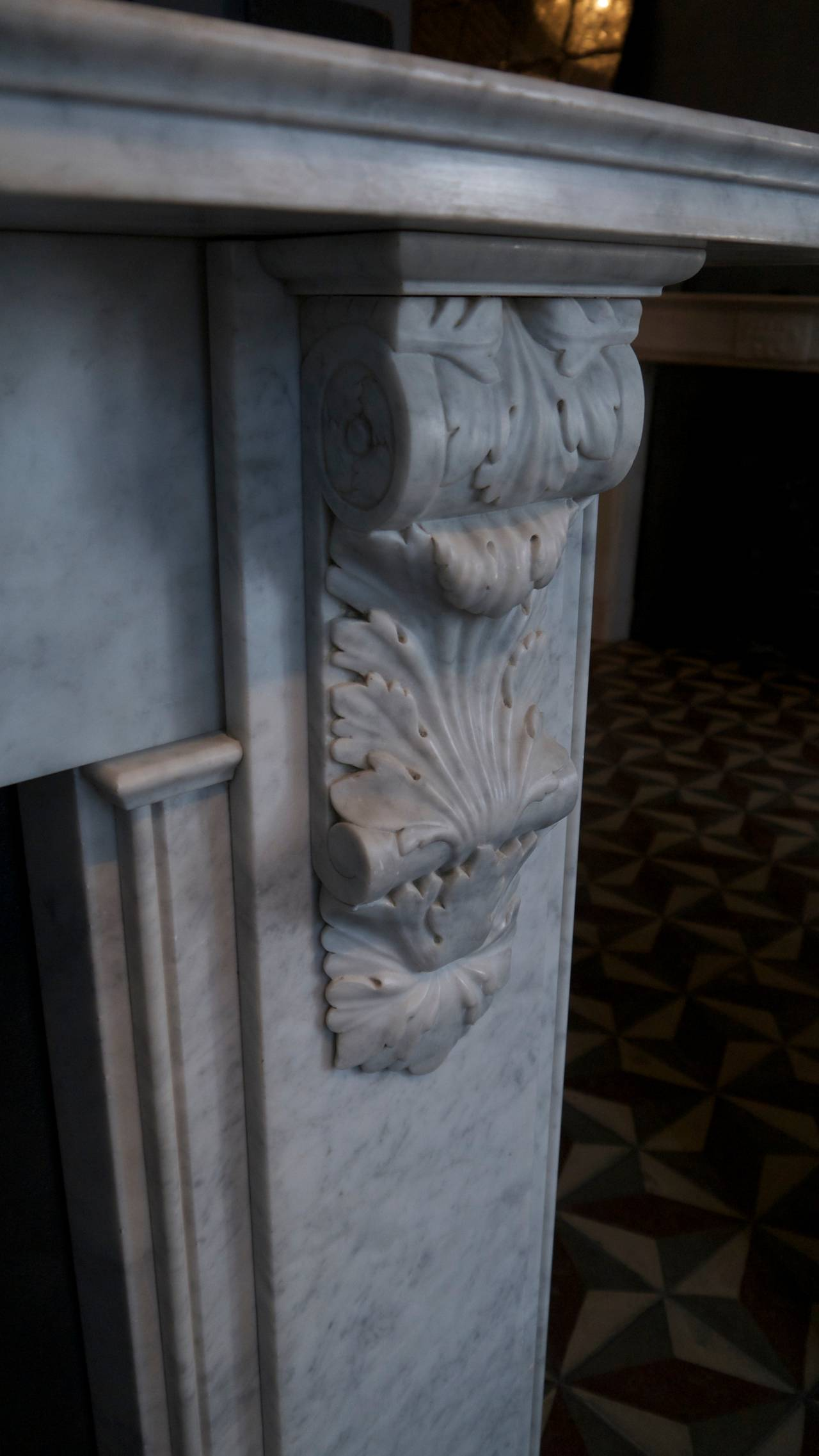 Victorian Style Carved Corbel in Carrara Marble fireplace For Sale 3