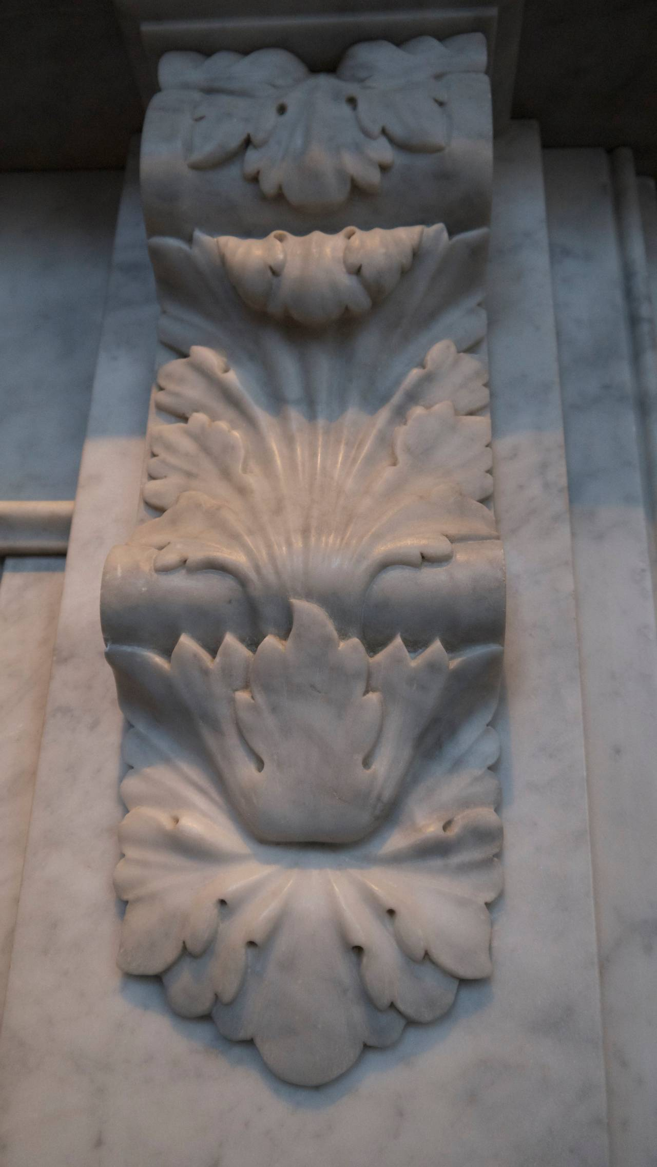 Victorian style carved corbel in Italian Carrara marble fireplace