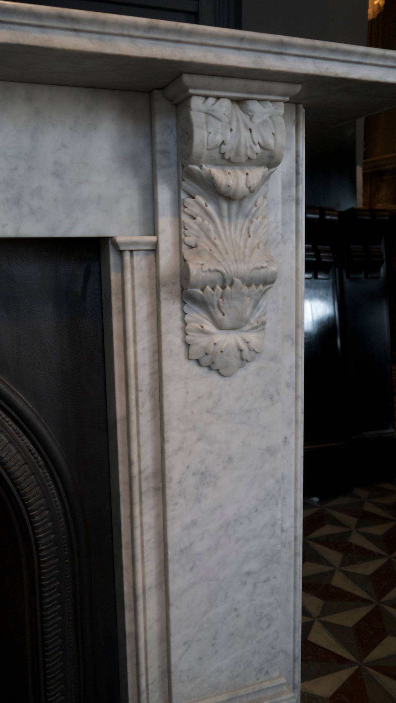Contemporary Victorian Style Carved Corbel in Carrara Marble fireplace For Sale