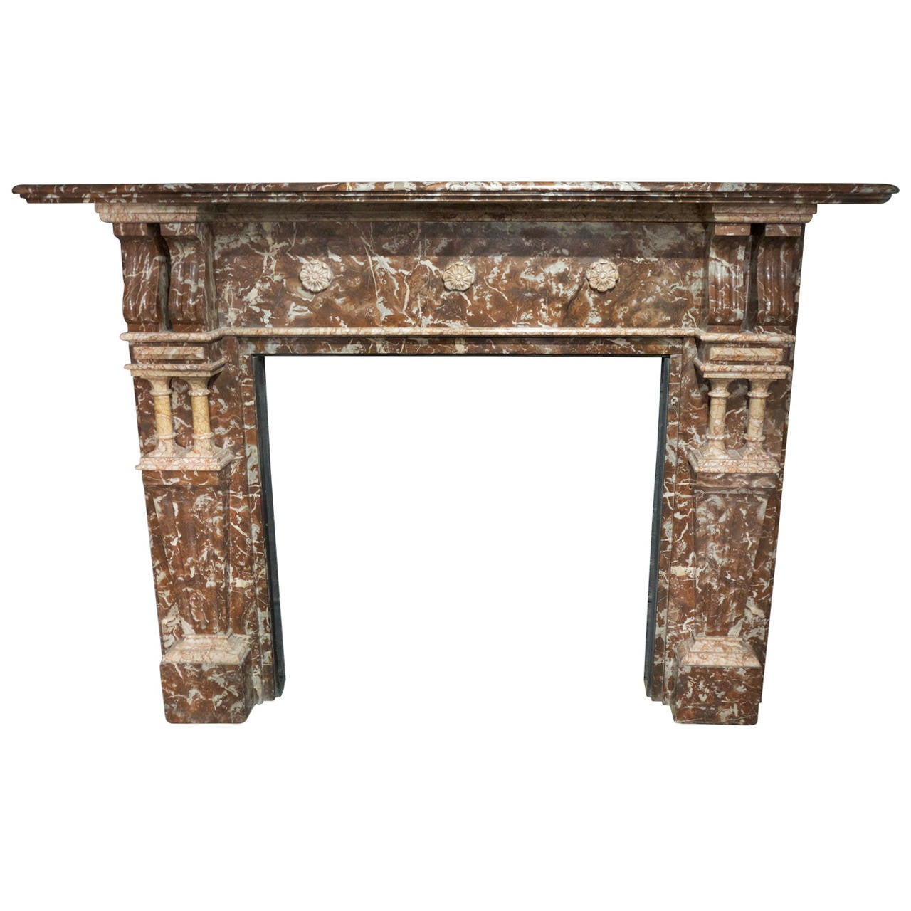 Late Victorian Antique Rouge Marble Fireplace Surround