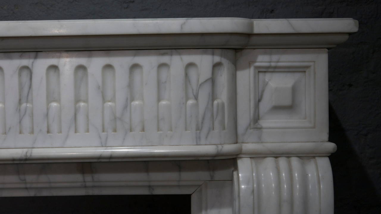 A Pair Of Louis XVI Style Carrara Marble Fireplace