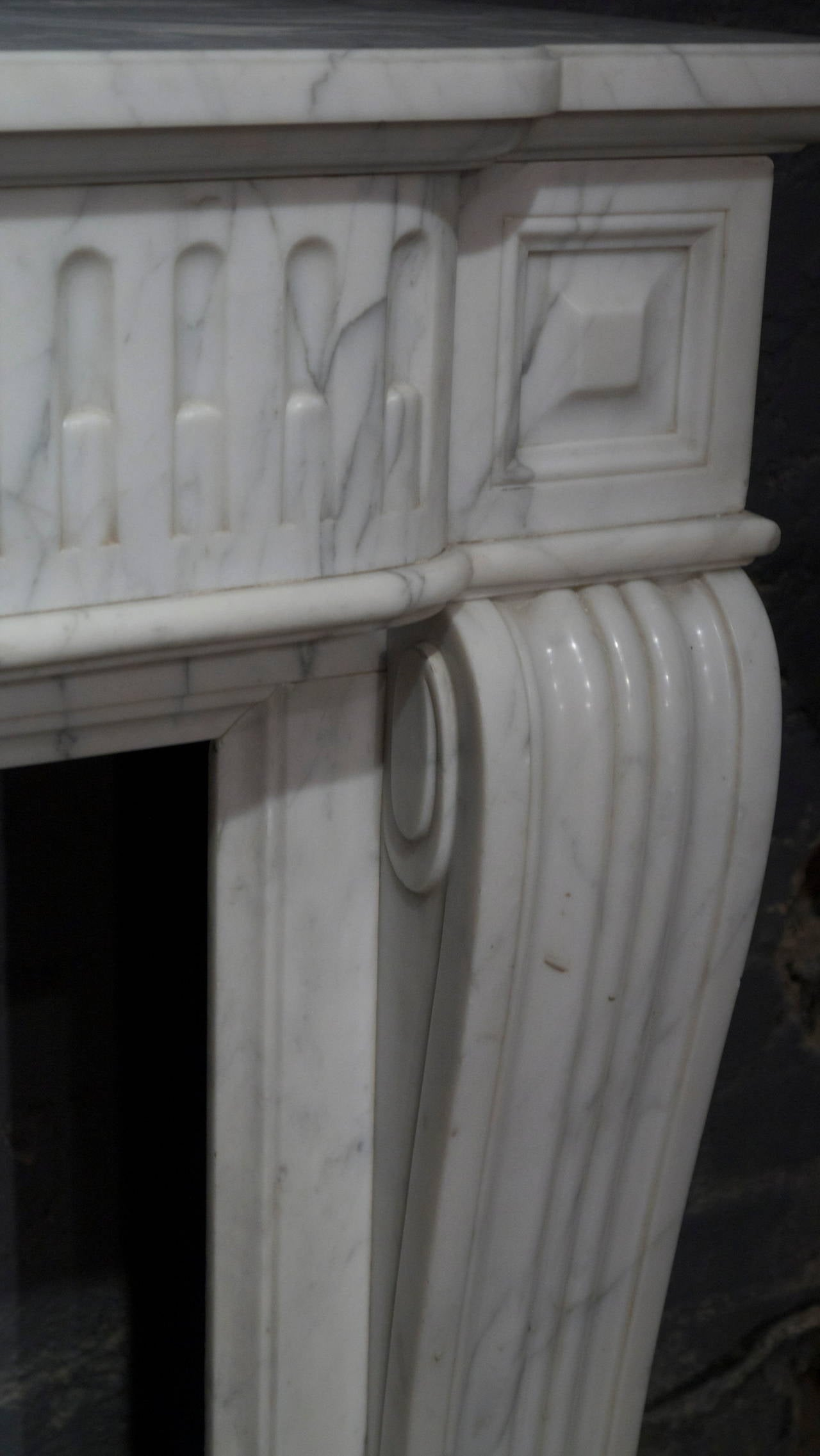 a pair of louis xvi style carrara marble fireplace surround at