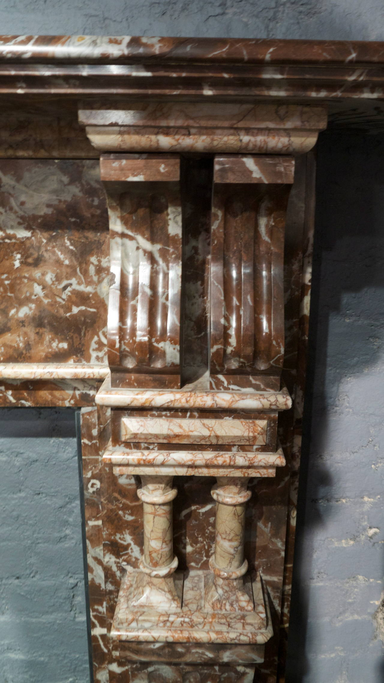 Late Victorian Antique Rouge Marble Fireplace Surround For Sale 4