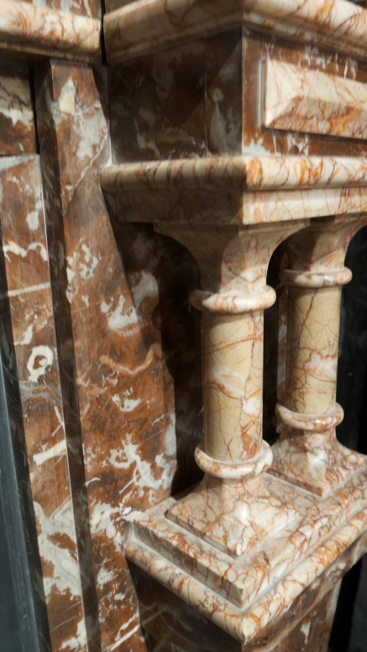 British Late Victorian Antique Rouge Marble Fireplace Surround For Sale