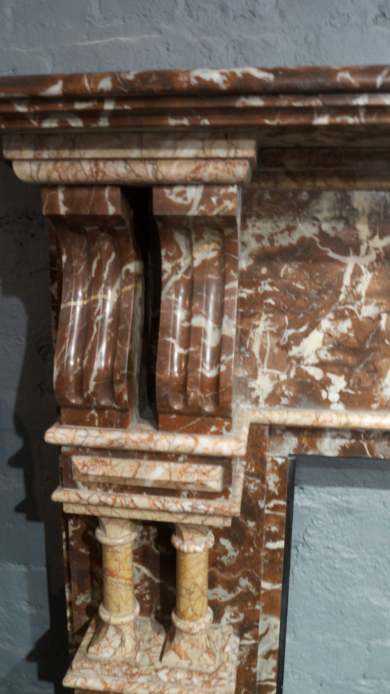 Late Victorian Antique Rouge Marble Fireplace Surround For