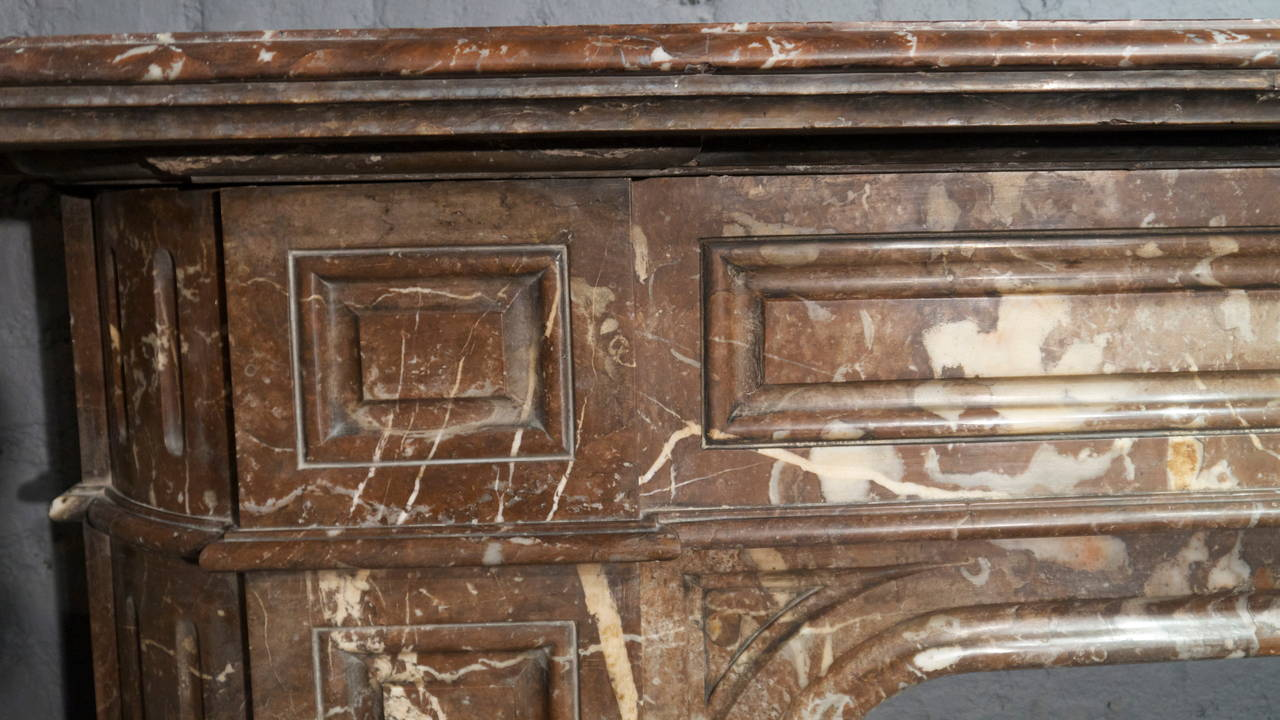 Victorian Rouge Royale Marble Fireplace Surround For Sale