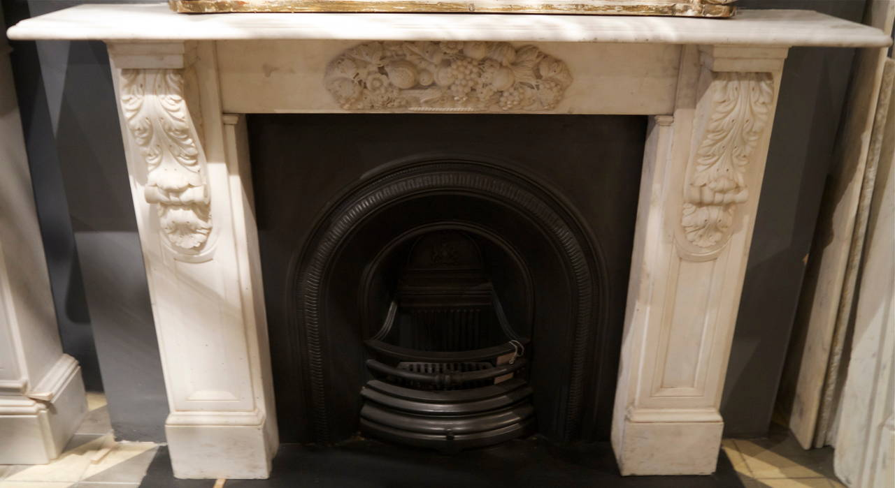 Antique Victorian Carved Statuary White Marble Corbel Fireplace ...