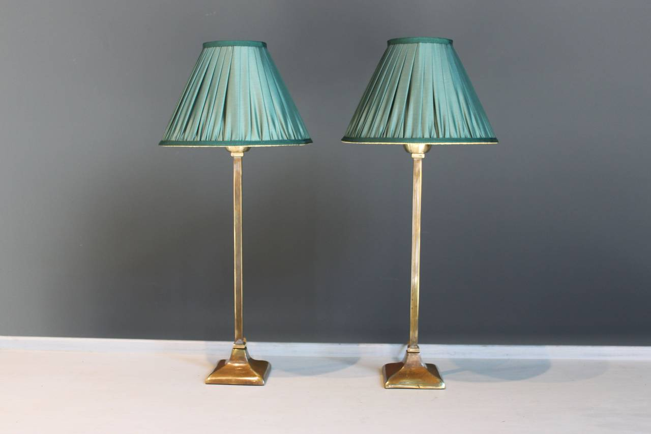 Pair Of Brass Table Lamps With Green Silk Shades France