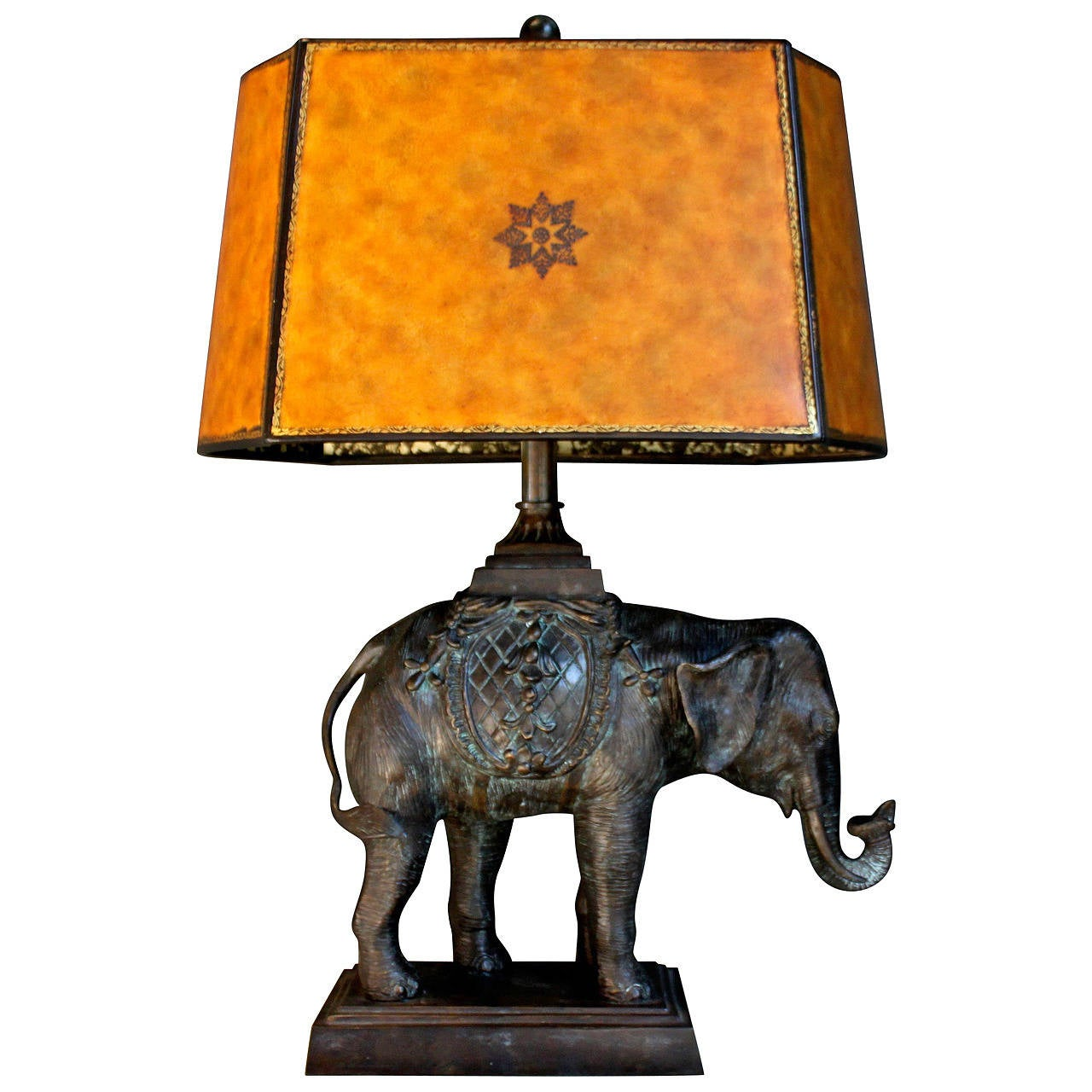 Maitland Smith Bronze Elephant Lamp With Original Shade