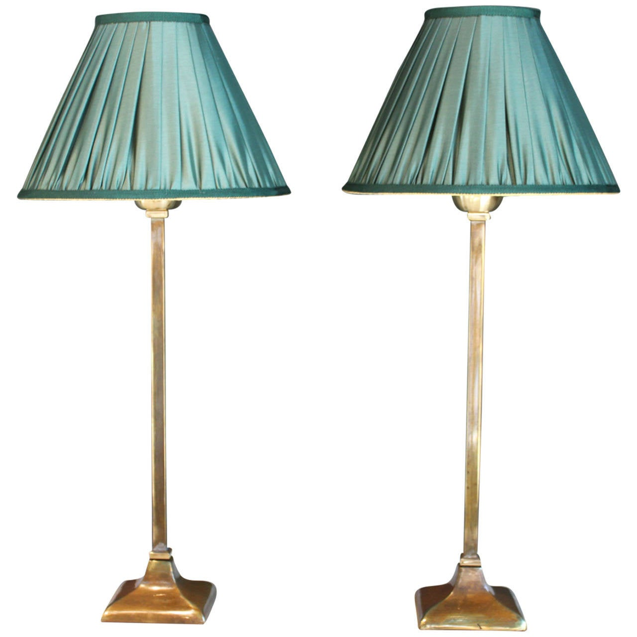 pair of brass table lamps with green silk shades france 20th century. Black Bedroom Furniture Sets. Home Design Ideas