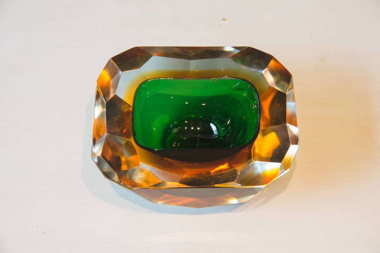 Faceted Crystal Bowl with Emerald Green Color, 20th Century